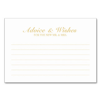 Elegant White and Gold Wedding Advice and Wishes Card
