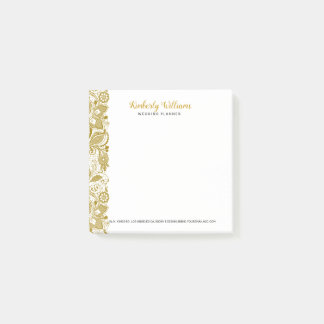 Elegant White And Gold Wedding Floral Lace Post-it Notes