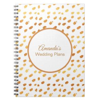 Elegant White and Gold Wedding Plans Journal