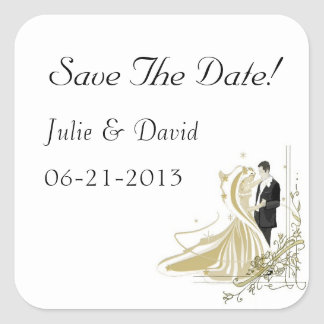 Elegant White and Gold Wedding Save The Date Square Sticker