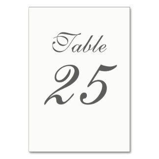 Elegant White and Gray Numbers Card