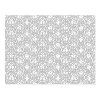Elegant White and Gray Pattern. Damask. Postcard