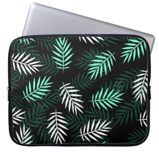 Elegant White and Green Palm Leaves Laptop Sleeve