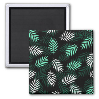Elegant White and Green Palm Leaves | Magnet