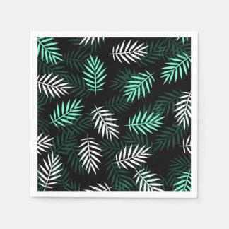 Elegant White and Green Palm Leaves | Napkin