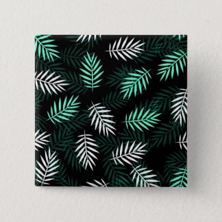 Elegant White and Green Palm Leaves | Pin Button