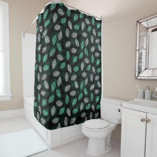 Elegant White and Green Palm Leaves Shower Curtain