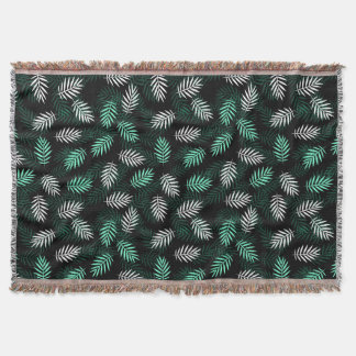 Elegant White and Green Palm Leaves Throw Blanket