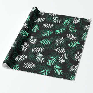 Elegant White and Green Palm Leaves Wrapping Paper