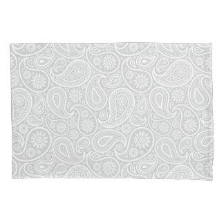 Elegant White And Light Gray Paisley Pattern Pillowcase