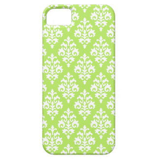 Elegant White and Lime Green Damask Case For The iPhone 5