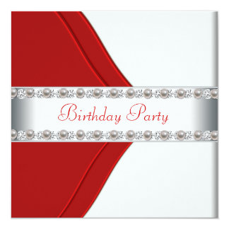 """Elegant White and Red Womans Birthday Party 5.25"""" Square Invitation Card"""