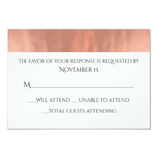 "Elegant White and Rose Gold Wedding Response Card 3.5"" X 5"" Invitation Card"