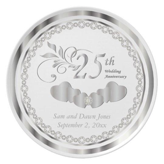 Elegant White and Silver Anniversary Keepsake Plate
