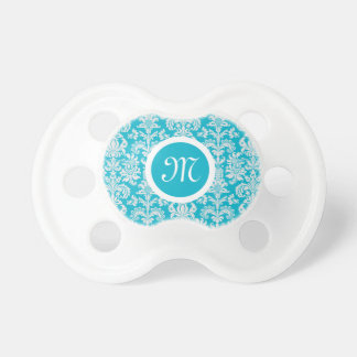Elegant White And Turquoise Floral Damasks Baby Pacifiers