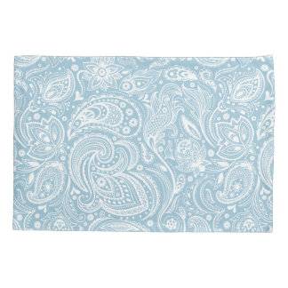 Elegant White & Baby Blue Floral Paisley Pattern Pillowcase
