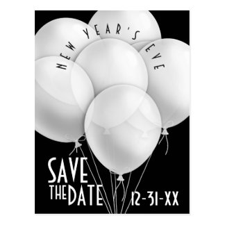 Elegant White Balloons New Year Party Invitation Postcard