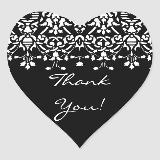 Elegant White & Black Damask Thank You Sticker