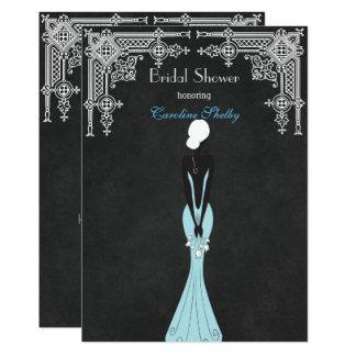 Elegant White Black Dress Bridal Shower Invitation