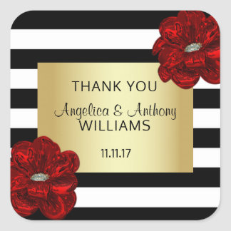 Elegant White,Black,Gold & Red Flower Wedding Square Sticker