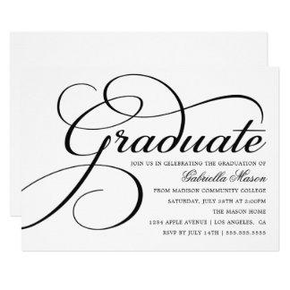 Elegant White & Black Graduation Party Invitation