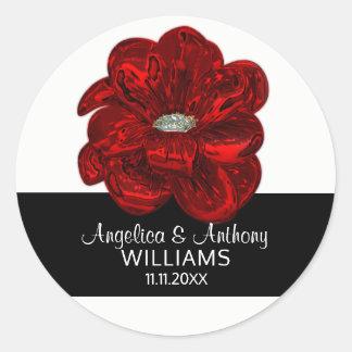 Elegant White,Black, Red Rose Flower Wedding Seals