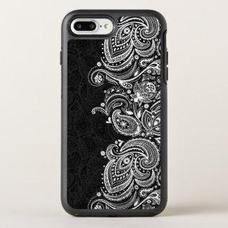 Elegant White & Black Vintage Paisley Lace OtterBox Symmetry iPhone 8 Plus/7 Plus Case