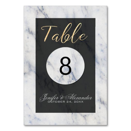 Elegant white blue marble black wedding table card