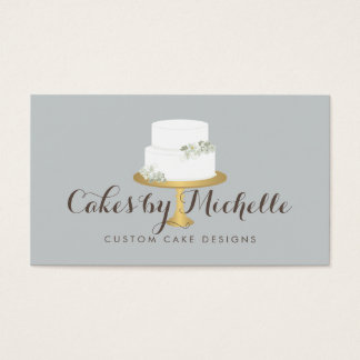 Elegant White Cake with Florals Cake Decorating Business Card