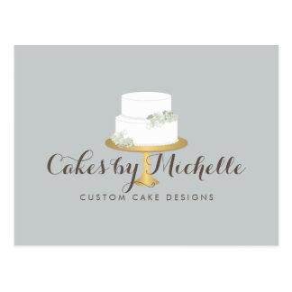 Elegant White Cake with Florals Cake Decorating Postcard