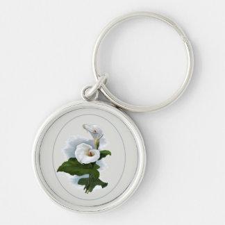 Elegant White Calla Lilies Keychain
