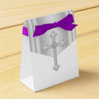 Elegant White Cross First Communion Party Favor Boxes