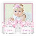 "Elegant White Cross Pink Photo Christening 5.25"" Square Invitation Card"