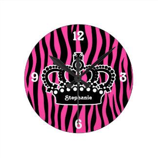 Elegant white crown on hot pink and black zebra round clock