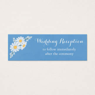 Elegant White Daisies Blue Wedding Reception Mini Business Card