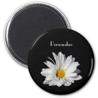 Elegant White Daisy Flower With Name Magnet