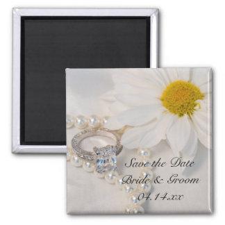 Elegant White Daisy Wedding Save the Date Magnet