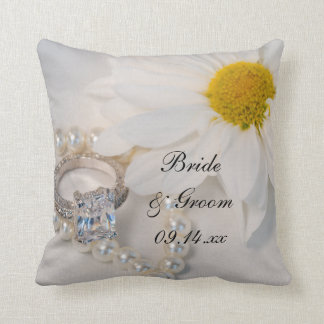 Elegant White Daisy Wedding Throw Pillows