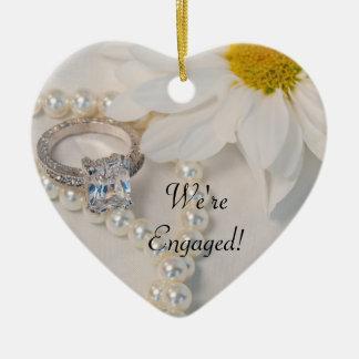 Elegant White Daisy We're Engaged Ceramic Heart Ornament