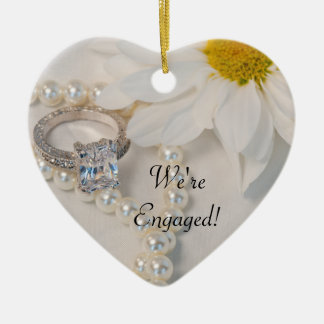 Elegant White Daisy We're Engaged Ceramic Ornament