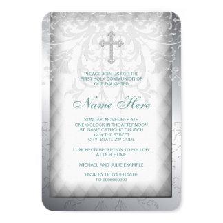"Elegant White Damask Cross First Communion 3.5"" X 5"" Invitation Card"