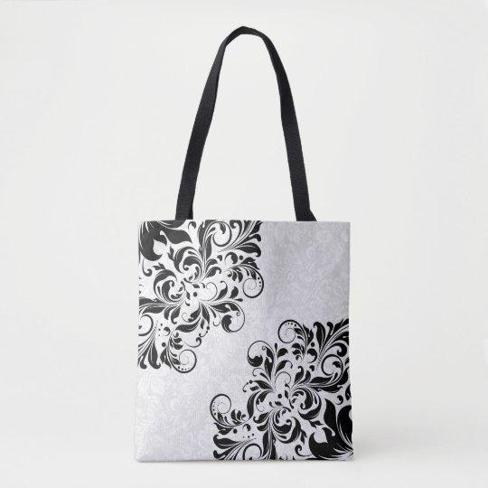 Elegant White Damasks & Black Floral Lace Tote Bag