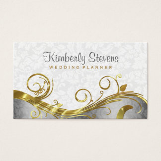 Elegant White Damasks Gold & Silver Swirls Business Card