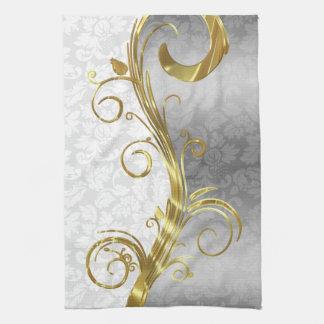 Elegant White Damasks Gold & Silver Swirls Kitchen Towel