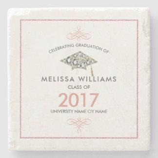 Elegant White Diamonds Graduation Hat Stone Beverage Coaster
