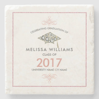 Elegant White Diamonds Graduation Hat Stone Coaster