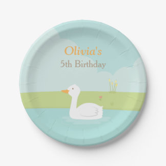 Elegant White Duck Birthday Party Paper Plates 7 Inch Paper Plate