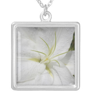 Elegant White Easter Lily Photo Silver Plated Necklace