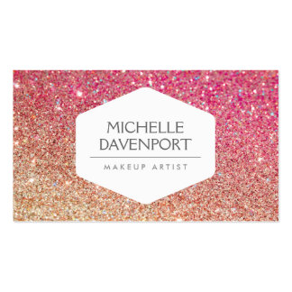 ELEGANT WHITE EMBLEM BRONZE/PINK OMBRE GLITTER BUSINESS CARD TEMPLATES