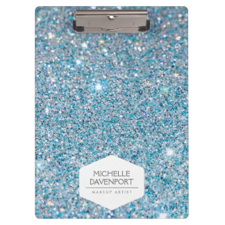 ELEGANT WHITE EMBLEM ON BLUE GLITTER BACKGROUND CLIPBOARD